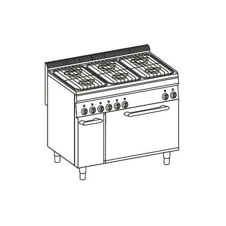 Cocina a gas + horno a gas GN2/1 (+ rejilla) Crystal Line Línea 700 Basic EF105GG7