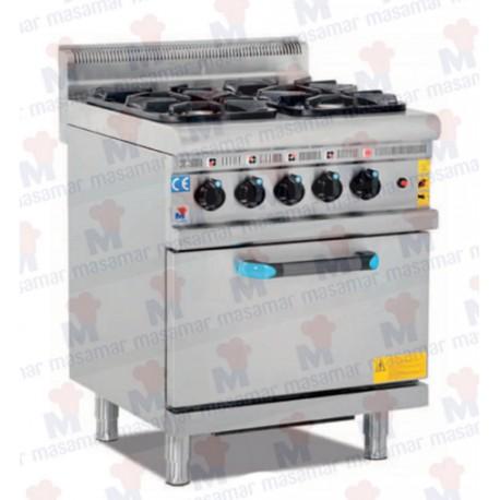Cocinas a Gas 4 Fuegos + Horno. Linea 600/700. Masamar
