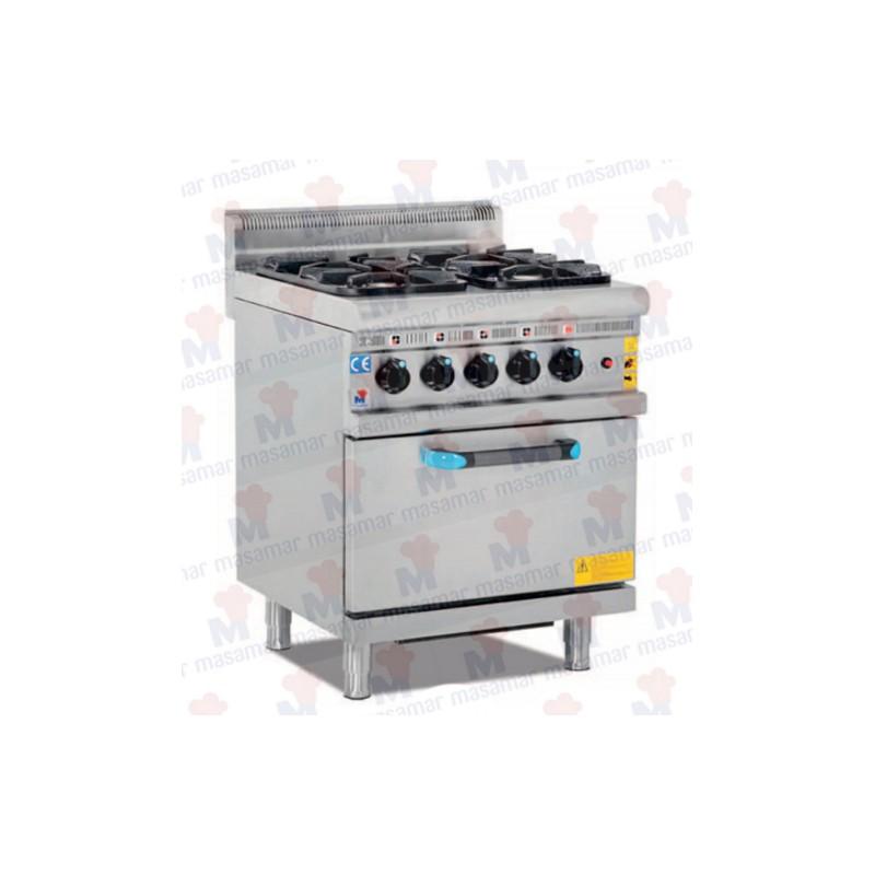 Cocinas a gas 4 fuegos horno equipamiento hosteler a for Cocina 4 fuegos con horno a gas