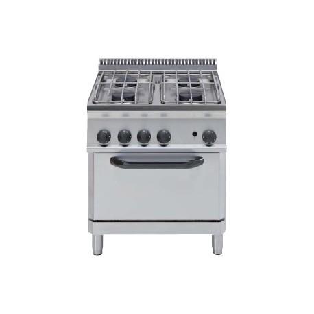 Cocina a gas + horno eléctrico GN2/1 (+ rejilla) Crystal Line Línea 700 Basic EF70G7