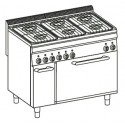 Cocina a gas + horno eléctrico GN2/1 (+ rejilla) Crystal Line Línea 700 Basic EF105G7