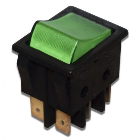 Interruptor bipolar piloto verde de lavadora Universal 25x32 mm